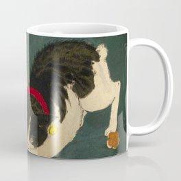 Kobayashi Kiyochika Black & White Cat Fluffy Cat Japanese Lantern Vintage Woodblock Print Coffee Mug