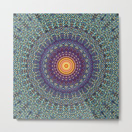 Happy Sun Circle Bohemian Geometric Thread Weave Pattern \\ Yellow Green Blue Purple Color Scheme Metal Print
