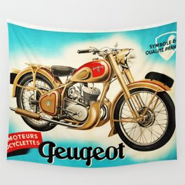 1951 Vintage Geugeot Velomoteurs Motorcycle French Advertisement Poster Wall Tapestry