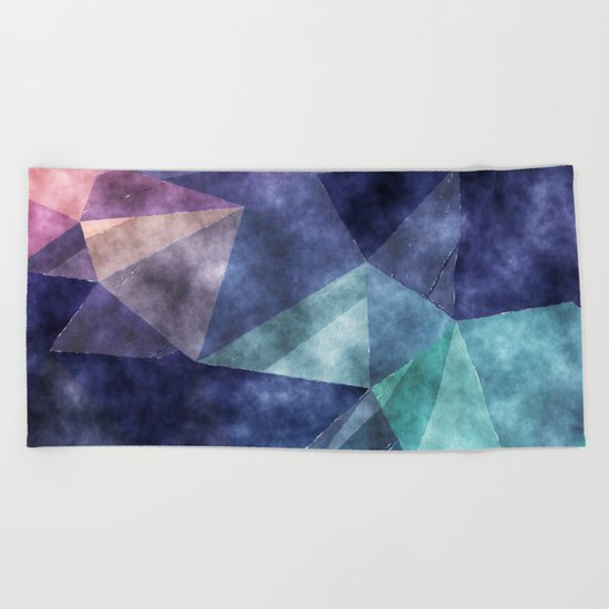 The deep blue sea- Watercolor triangles pattern in blue colors Beach Towel