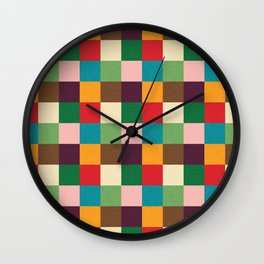 Cube pattern retro colors Wall Clock