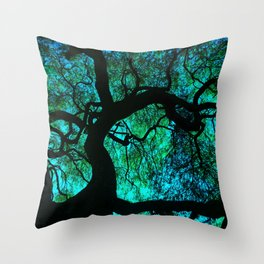 Under The Tree Blue and Green Throw Pillow