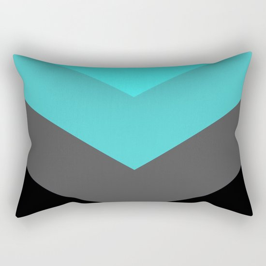 Aqua Gray Chevron Stripes Rectangular Pillow