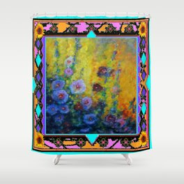 Blue Hollyhock Painting in Western Style Design Shower Curtain