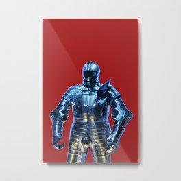 Blue Knight Stencil Metal Print