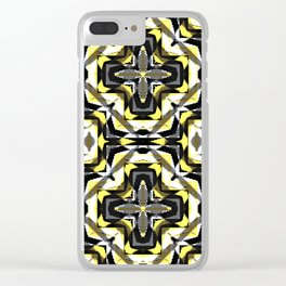 black yellow gray and white geometric Clear iPhone Case