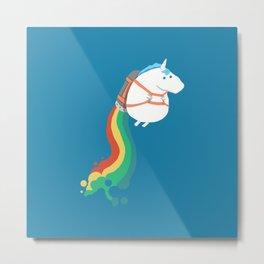 Unicorn rainbow rocket Metal Print