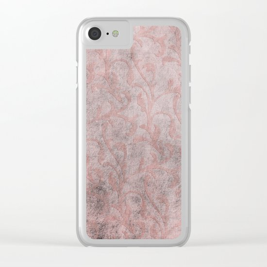 Dirty princess - Elegant Damask pattern with grunge effect Clear iPhone Case
