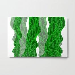 Parallel Lines No.: 03. - Green, Symmetrical Metal Print