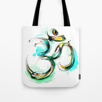 ohm Tote Bags featuring Ohm by Abby Diamond
