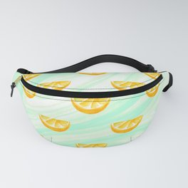 Summer watercolor oranges and marbleized design Fanny Pack