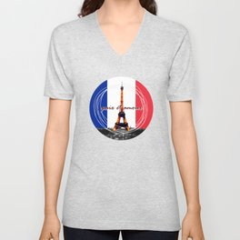 Peace and Love in France Unisex V-Neck