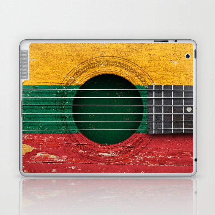 Old Vintage Acoustic Guitar with Lithuanian Flag Laptop & iPad Skin