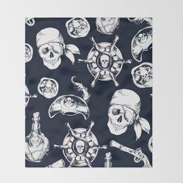 Navy Blue Pirate Pattern Throw Blanket
