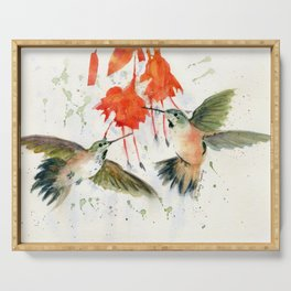Hummingbird Watercolor Serving Tray