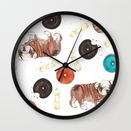 Bulldogs and donuts Wall Clock