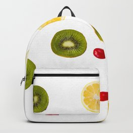 Cornus and dogberry, lemon and kiwi high angle view Backpack
