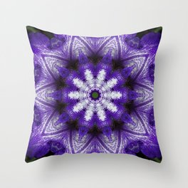 Glowing Violet Star - Iris Stepping Out Kaleidoscope Throw Pillow