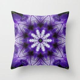 Glowing Violet Star - Iris Stepping Out Kaleidoscope Throw Pillow