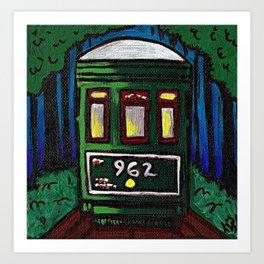 St. Charles Streetcar at Night Art Print