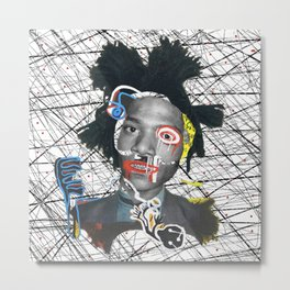 Self portrait as a pregnant dude basquiatcollage Metal Print