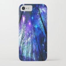 black trees purple blue space iPhone 7 Slim Case