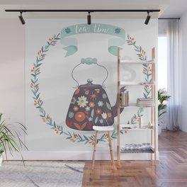 Tea Time Floral Tea Kettle Wall Mural