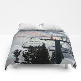 4 Seat Chair Lift Rainbow Sky \\ The Mountain Sun Rays \\ Spring Skiing Colorado Winter Snow Sports Comforters