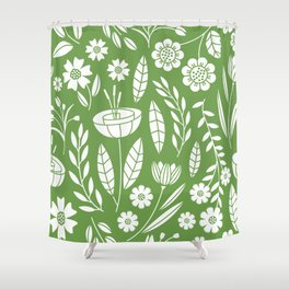 Blooming Field - green Shower Curtain