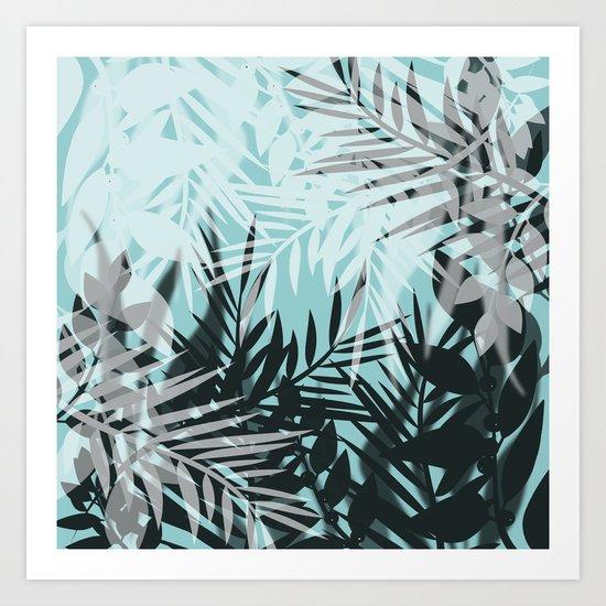 Tropical blue summer print palm leaves Art Print