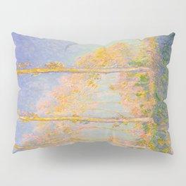 Claude Monet Impressionist Landscape Oil Painting Claude Monet French Poplars Pastel Romantic Colors Pillow Sham