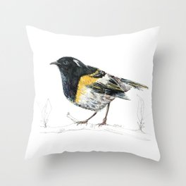 Hihi, New Zealand native Stitchbird Throw Pillow