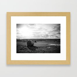 German Countryside with Hay Bale Framed Art Print