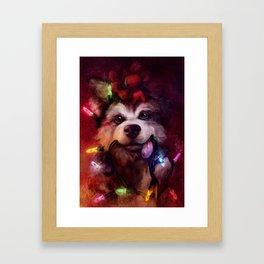 Husky Holidays Framed Art Print