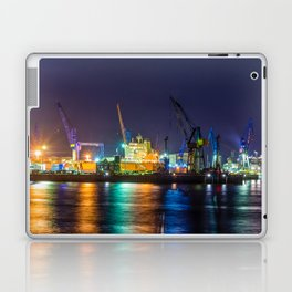 Port of Hamburg at night with colorful illumination Laptop & iPad Skin