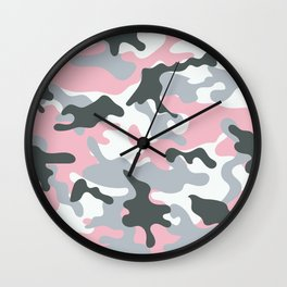 Pink Army Camo Camouflage Pattern Wall Clock