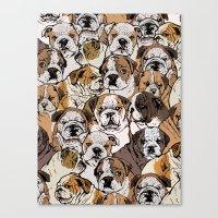 english bulldog Canvas Prints featuring Social English Bulldog by Huebucket