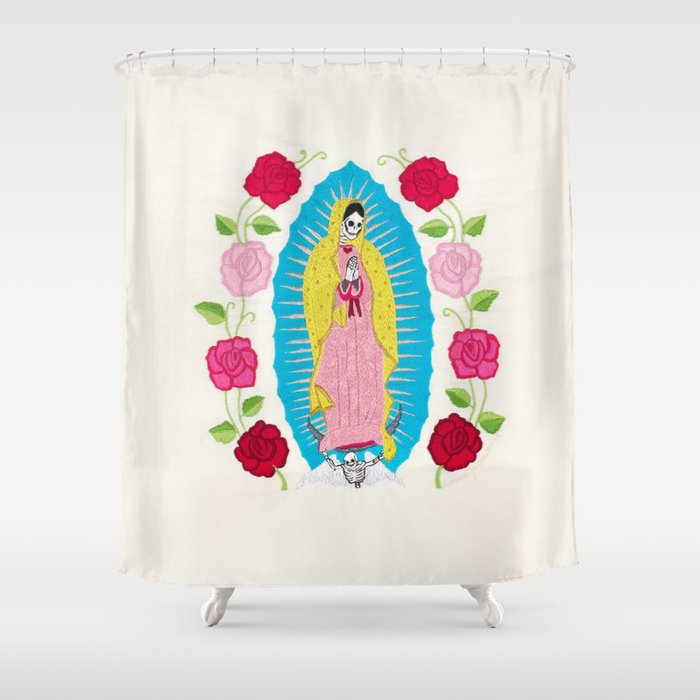 Skull Virgin Of Guadalupe Hand Embroidered Shower Curtain By Karinajacobsen
