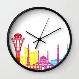 Astana skyline pop Wall Clock