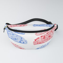 toast drawing, red and blue Fanny Pack