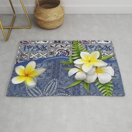 Blue Hawaiian Tapa and Plumeria Rug