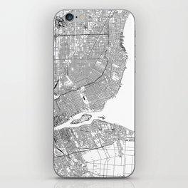 Detroit White Map iPhone Skin