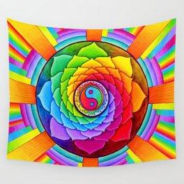 Healing Lotus Rainbow Yin Yang Mandala Wall Tapestry
