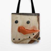 snowman Tote Bags featuring Snowman  by IowaShots
