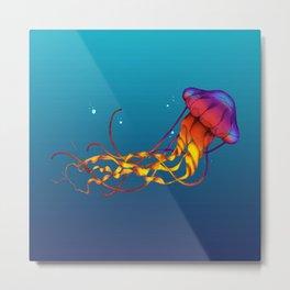 Jellyfish Red Metal Print