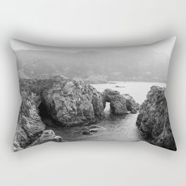 Ocean Arches | Black and White Nature Landscape Photography in California Rectangular Pillow