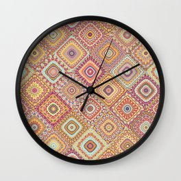 Granny's Millefiori Quilt-Spring Colors Wall Clock