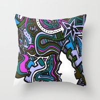 techno Throw Pillows featuring Purple Techno by Madison R. Leavelle