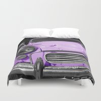 grand theft auto Duvet Covers featuring Purple Auto  by Beyond Reason