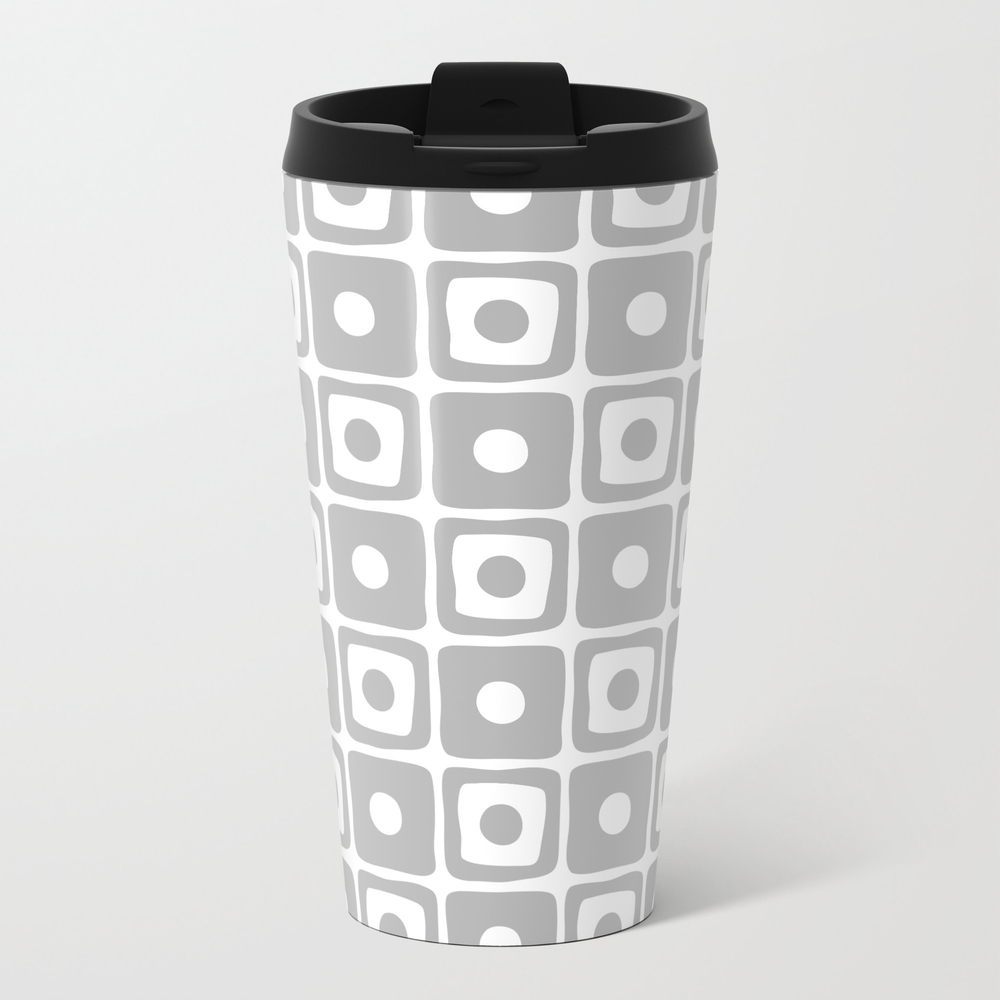 Mid Century Square Dot Pattern Grey Metal Travel Mug by Tonymagner MTM8693190